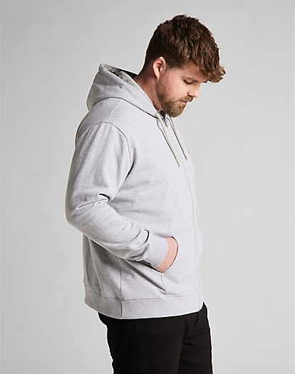 Basic Zip Through Hoodie in Grey Mele