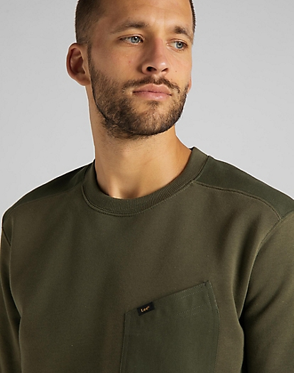 Military Details Sweatshirt in Olive Green