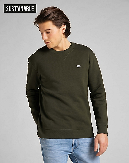 Plain Crew Sweatshirt in Serpico Green