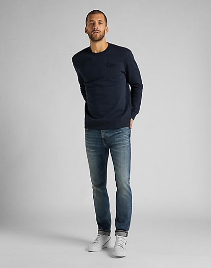 Refined Applique Sweatshirt in Sky Captain