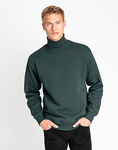 Highneck Sweatshirt in Dk Bottle Green