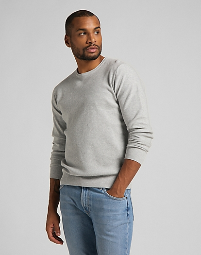 Basic Crew Knit in Grey Mele