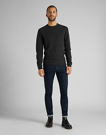 Basic Textured Crew in Dark Grey Mele