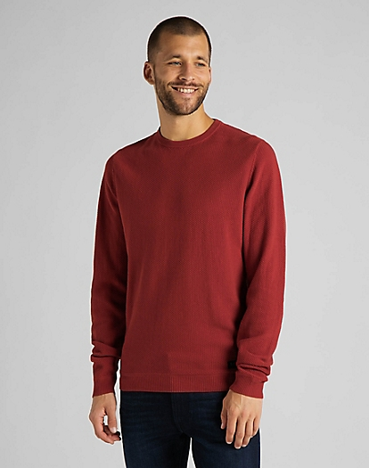 Basic Textured Crew in Red Ochre