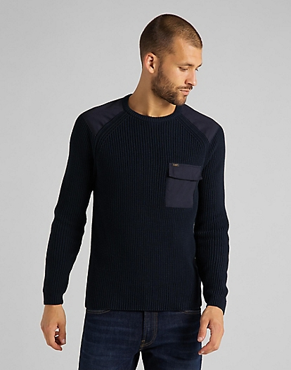 Fishermen Patch Pocket Knit in Sky Captain