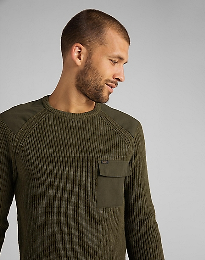 Fishermen Patch Pocket Knit in Olive Green