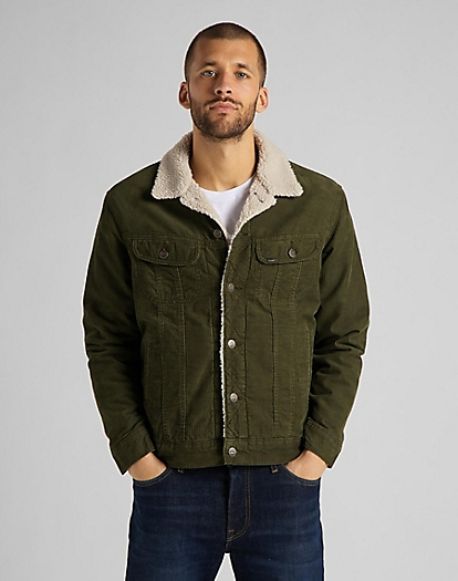 Sherpa Rider Jacket Corduroy in Olive Green