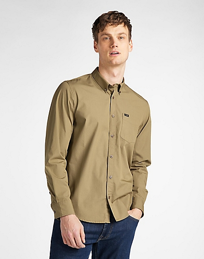 Button Down Shirt in Utility Green