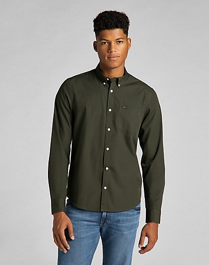 Lee Button Down Shirt in Serpico Green