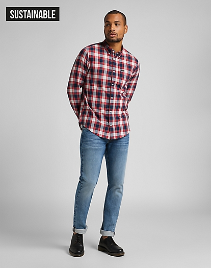 Button Down Shirt in Aurora Red