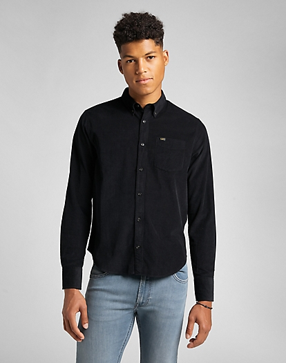 Button Down Shirt Corduroy in Black