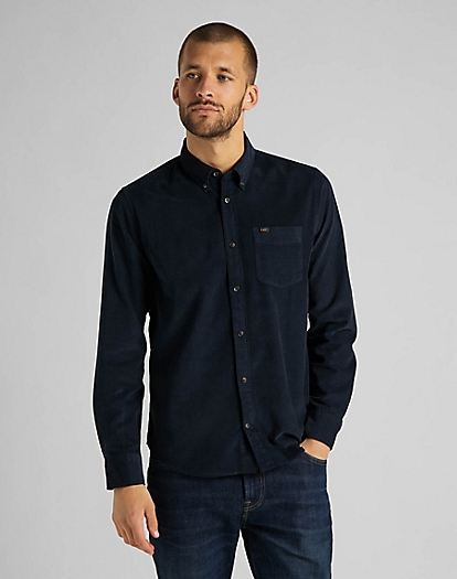 Button Down Shirt Corduroy in Sky Captain