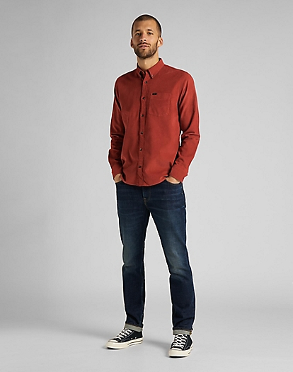 Button Down Shirt Corduroy in Red Ochre