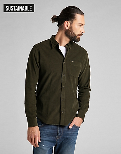 Button Down Shirt Corduroy in Serpico Green