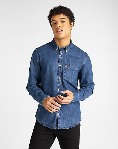 Button Down Shirt in Dipped Blue