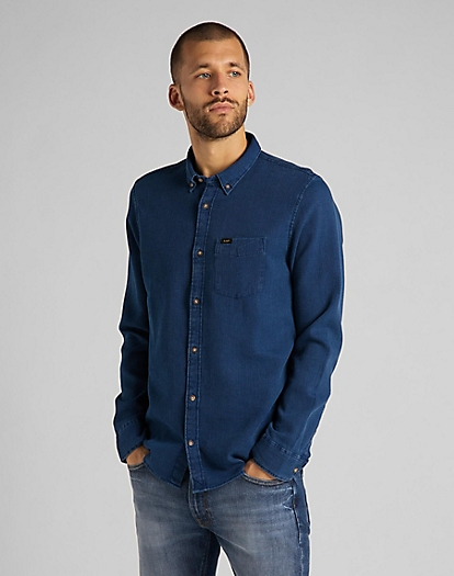 Refined Button Down Shirt in Washed Blue