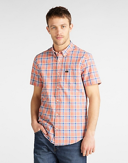Short Sleeve Button Down Shirt in Paprika