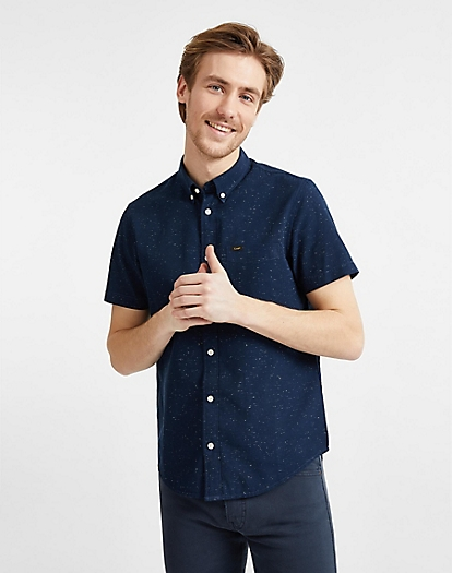 Button Down Short Sleeve in Sky Captain