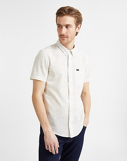 Button Down Short Sleeve in White Canvas