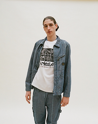 191 Jacket in Denim Workwear Stripe