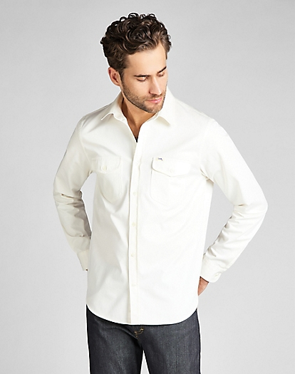 101 Service Shirt in White Canvas