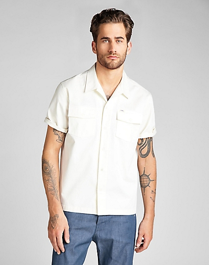 101 Short Sleeve Service Shirt in White Canvas