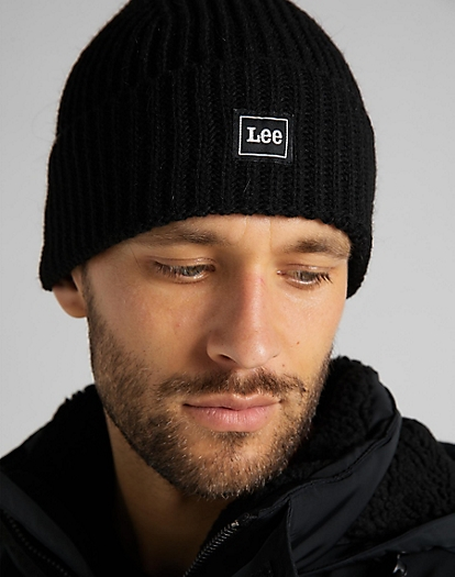 Rib Beanie in Black