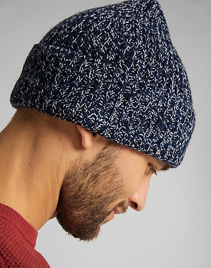 Rib Beanie in Washed Blue